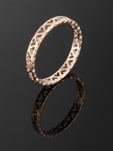 rose gold Titanium Hollow Heart Band Ring