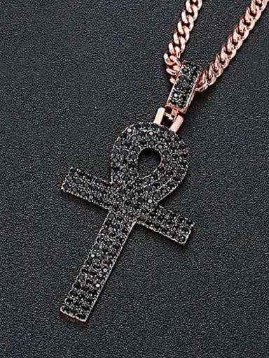 Black zirconium t20d05 Copper Cubic Zirconia Key Hip Hop Necklace