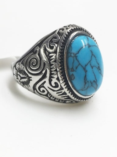 Stainless steel Turquoise Oval Vintage Solitaire Ring