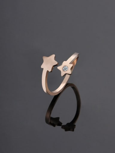rose gold Titanium Star Minimalist Band Ring