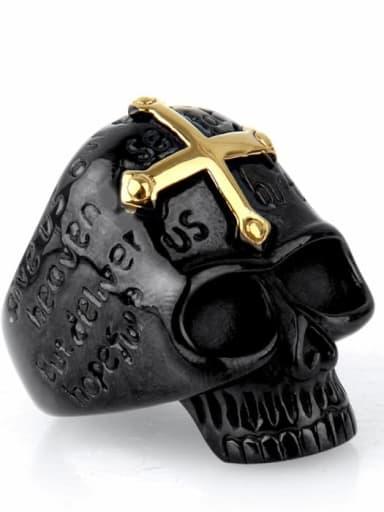Black gold Titanium Skull Vintage Band Ring