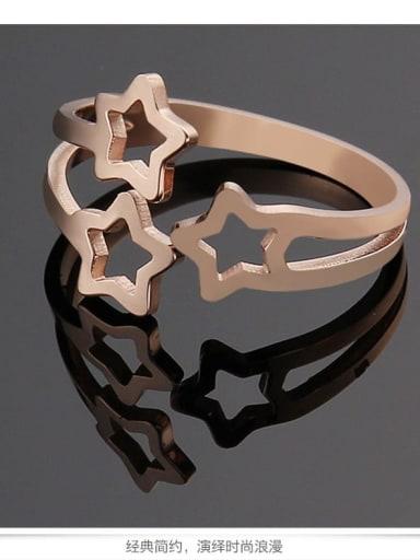 rose gold Titanium Hollow Star Minimalist Ring