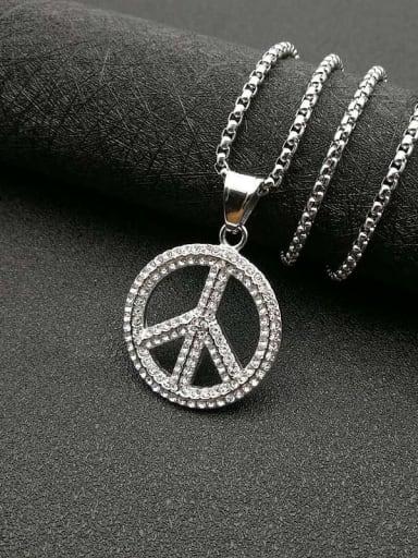 Silver necklace Titanium Rhinestone Round Hip Hop Initials  Pendant Necklace