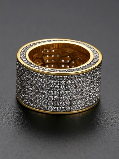 Brass Cubic Zirconia Round Luxury Band Ring