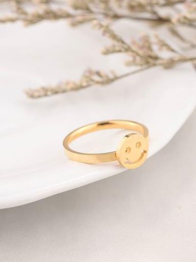 golden Titanium  Minimalist  Smiley Band Ring