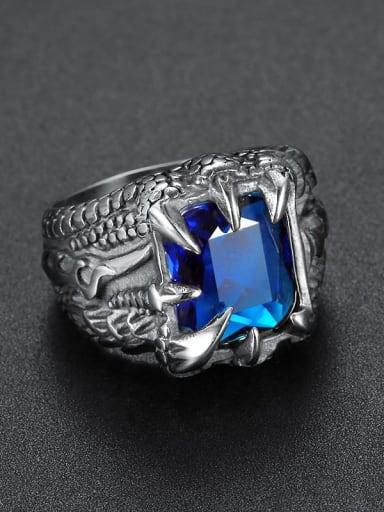 blue Titanium Glass Bead Geometric Vintage Solitaire Ring