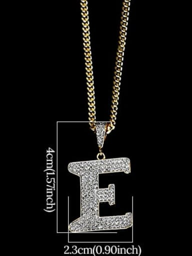 E 24in 60cmT20B05 Brass Cubic Zirconia Letter Hip Hop Initials Necklace