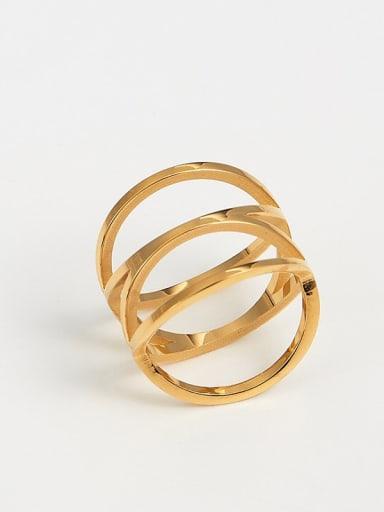 golden Titanium Irregular Trend Band Ring