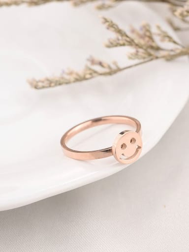Titanium  Minimalist  Smiley Band Ring
