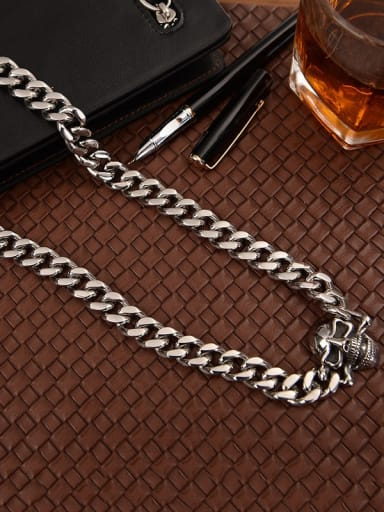 Titanium Skull Link Necklace