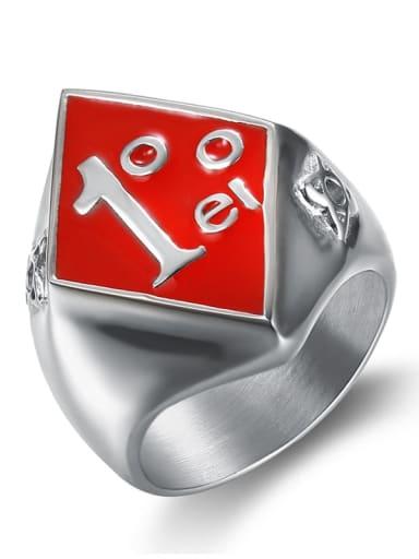 Steel red glue Stainless steel digital Skull Vintage Band Ring