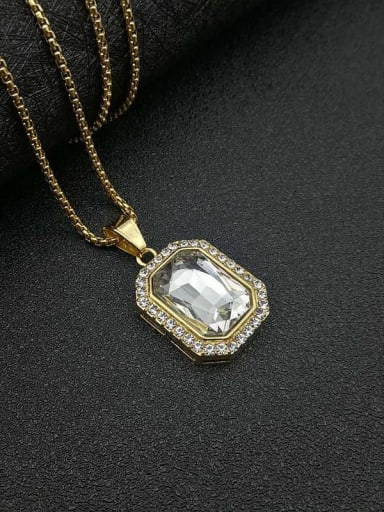 White glass stone necklace Titanium Glass Stone Rectangle Hip Hop Necklace