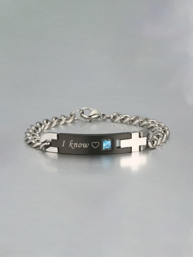 black Titanium letter Minimalist Link Bracelet
