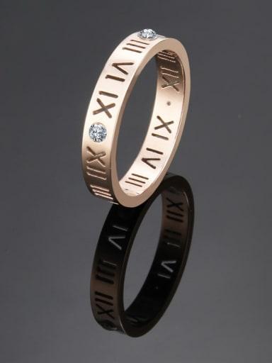rose gold Titanium Number Cutout Minimalist Band Ring