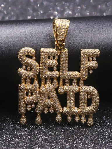 Gold with chain Copper Cubic Zirconia Letter Hip Hop Initials Pendant Necklace