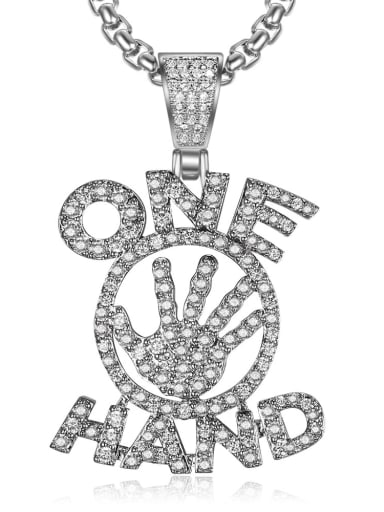 Silver with chain Copper Letter  Cubic Zirconia Letter Hip Hop Initials Pendant  Necklace