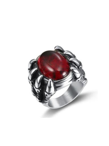 Titanium Glass Bead Dragon Vintage Solitaire Ring