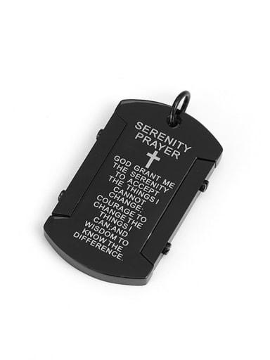 black Titanium God Scripture Minimalist Pendant