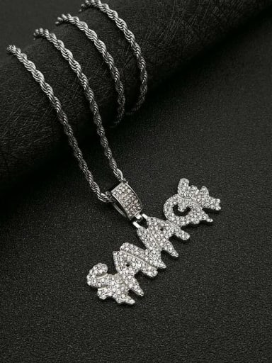 Silver Necklace Titanium letter  Rhinestone Irregular Initials Necklace