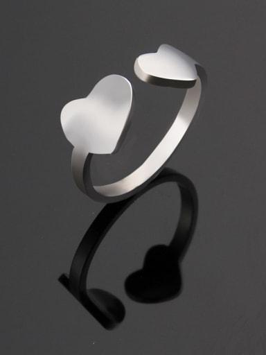 Steel color Titanium Heart Minimalist Band Ring