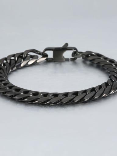 Black (1.1cm wide) Titanium Vintage Fashion Multi Color Polished Titanium Steel Bracelet