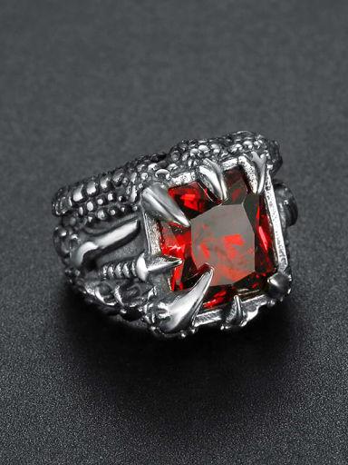 gules Titanium Glass Bead Geometric Vintage Solitaire Ring