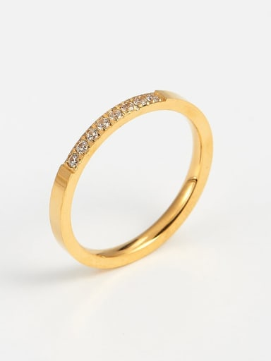 golden Titanium Cubic Zirconia Minimalist Band Ring