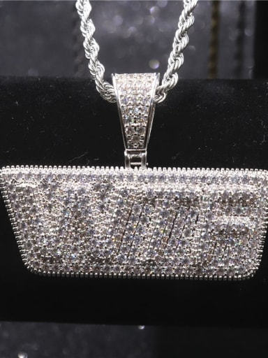 Silver withchain Copper Cubic Zirconia Letter Hip Hop Initials Pendant Necklace