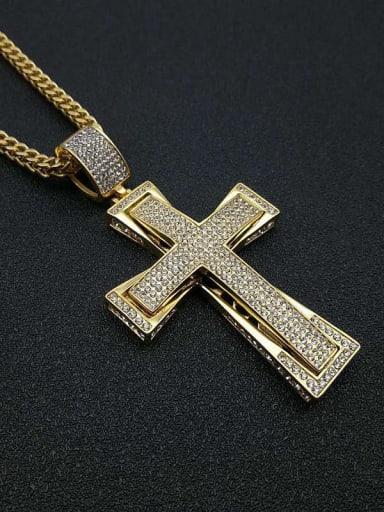 Titanium Rhinestone Cross Hip Hop Initials Necklace