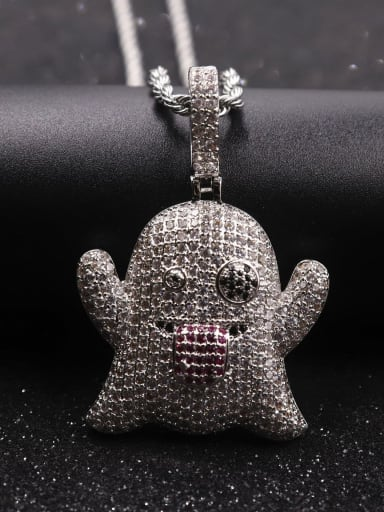 Silver with chain Copper Cubic Zirconia Irregular Hip Hop Pendant  Necklace
