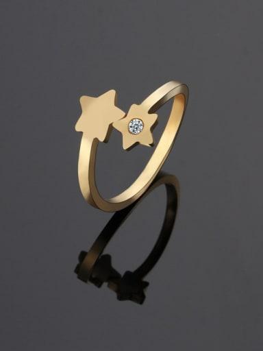 golden Titanium Star Minimalist Band Ring