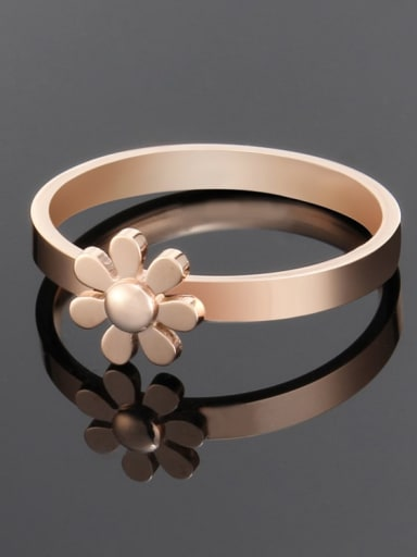 rose gold Titanium Minimalist smooth flower band  Ring