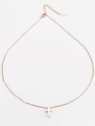 rose gold Titanium Mimaalist Cross   Pendant  Initials Necklace
