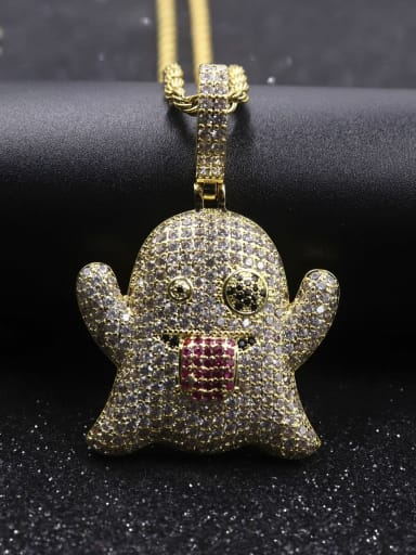 Gold with chain Copper Cubic Zirconia Irregular Hip Hop Pendant  Necklace