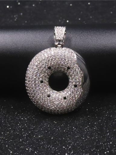 Silver with chain Copper Cubic Zirconia Round Hip Hop  Pendant Necklace
