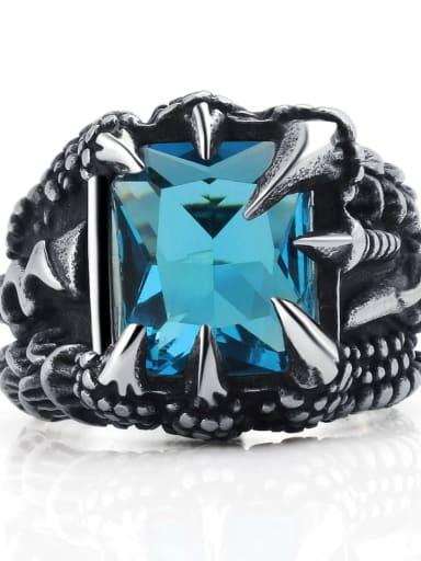 wathet Titanium Glass Bead Geometric Vintage Solitaire Ring