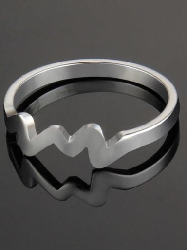 Steel color Titanium Irregular Minimalist Band Ring