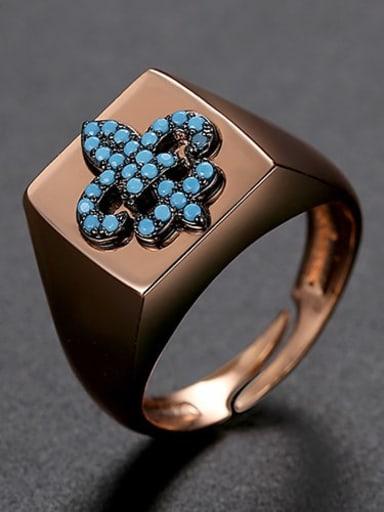 Blue zirconium 6 t21f01 Brass Cubic Zirconia Geometric Minimalist Band Ring