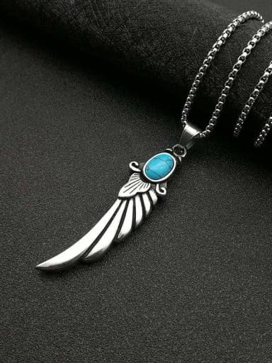 Wing Titanium Turquoise Hip Hop Pendant