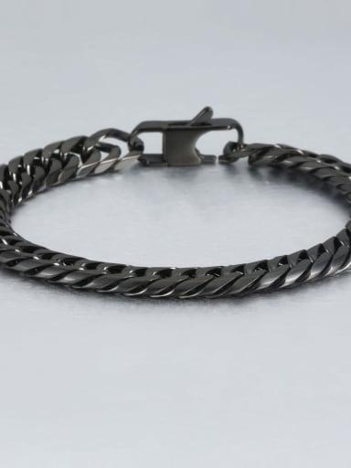 Black (0.9CM wide) Titanium Vintage Fashion Multi Color Polished Titanium Steel Bracelet