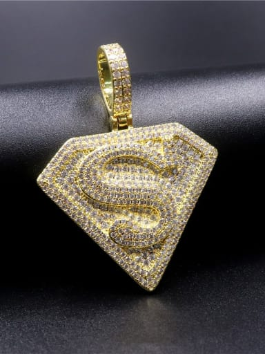 Gold with chain Copper Cubic Zirconia Irregular Hip Hop Initials  Pendant Necklace