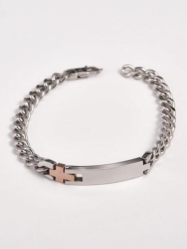 Rose Gold Titanium  Cross Religious Minimalist  Link Bracelet