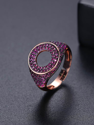 Red t17a22 Brass Cubic Zirconia Round Hip Hop Band Ring