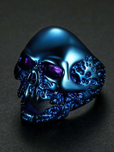blue Stainless steel Skull Vintage Band Ring