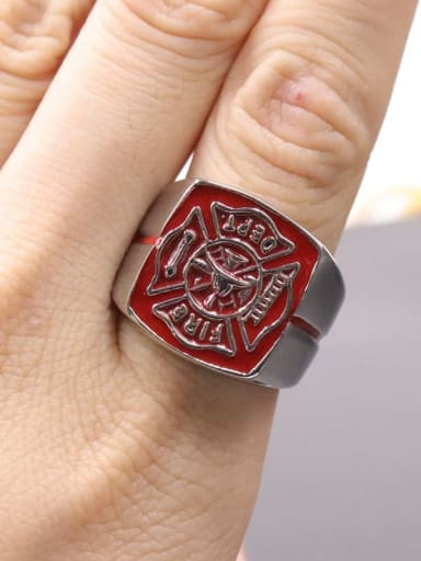 gules Titanium Fire sign  Square Vintage Signet Ring