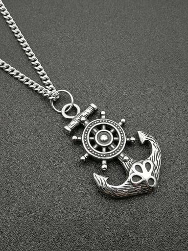 Titanium Anchor Hip Hop Initials Necklace