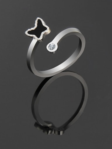 Steel color Titanium Minimalist Butterfly Band Ring