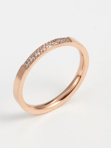 rose gold Titanium Cubic Zirconia Minimalist Band Ring