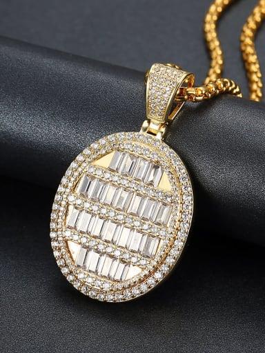 Copper Cubic Zirconia Round Hip Hop Pendant  Necklace