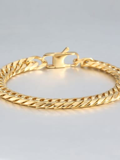 Gold (0.9CM wide) Titanium Vintage Fashion Multi Color Polished Titanium Steel Bracelet